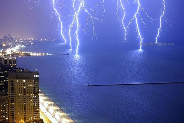 10 - Lightning storm over Lake Michigan