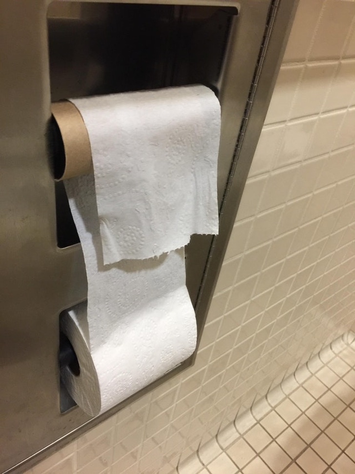 "19 - ""The toilet paper was hanging the wrong way. So I fixed the problem."""
