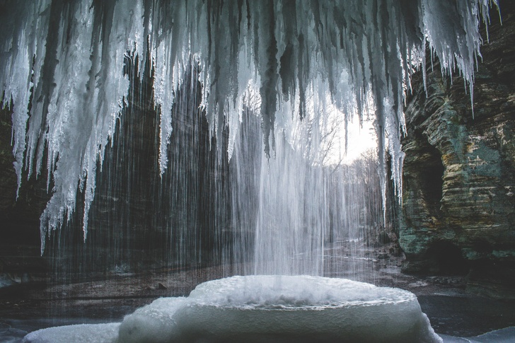 7 - A view inside a partially frozen waterfall