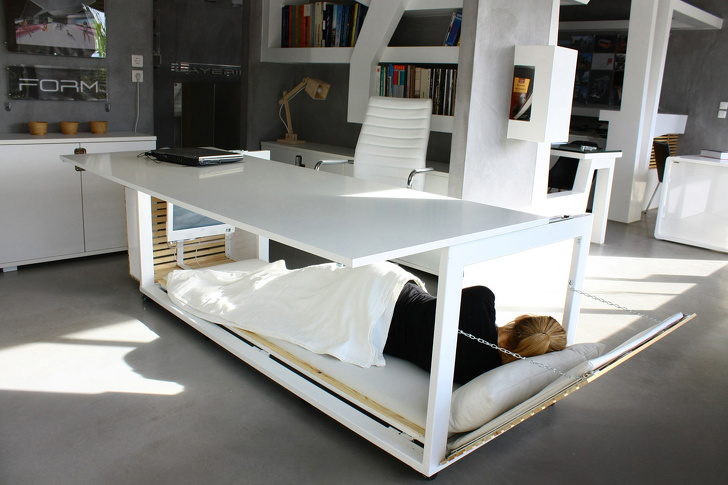 2 - A desk that turns into a bed when you want to get some rest.