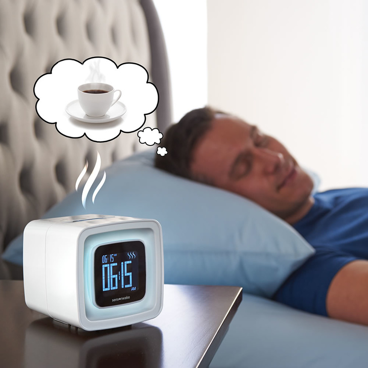 28 - An alarm clock with a coffee smell
