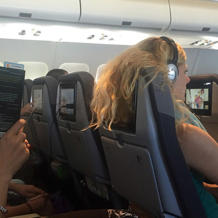 5 - It's awesome when you have your own personal screen onboard, but it's not awesome when the person in front of you forgets about it.