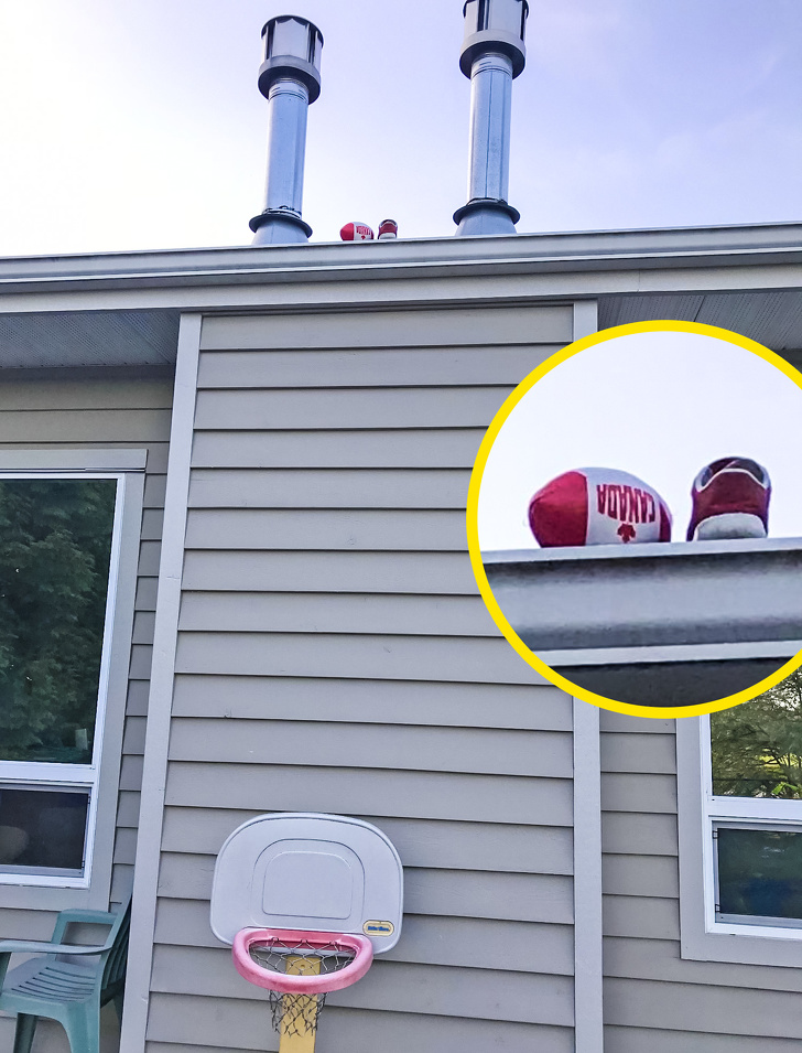 """8 - """"My son tried to get his ball down from the roof with his shoe."""""""