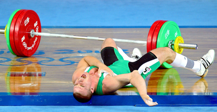 4 - Janos Baranyai a weightlifter from Hungary tried to lift an enormous 148 kg during the Beijing 2008 Olympics. His right arm couldn't take that much weight.