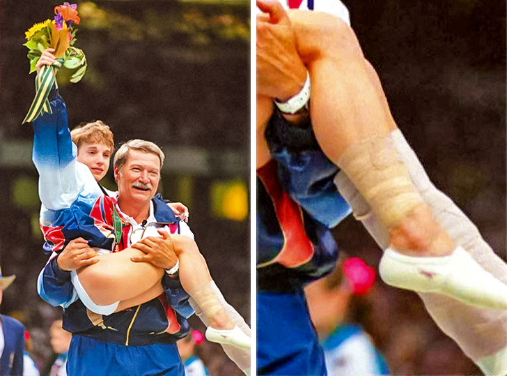 2 - A badly traumatized Kerri Strug is carried to get her Olympic gold.