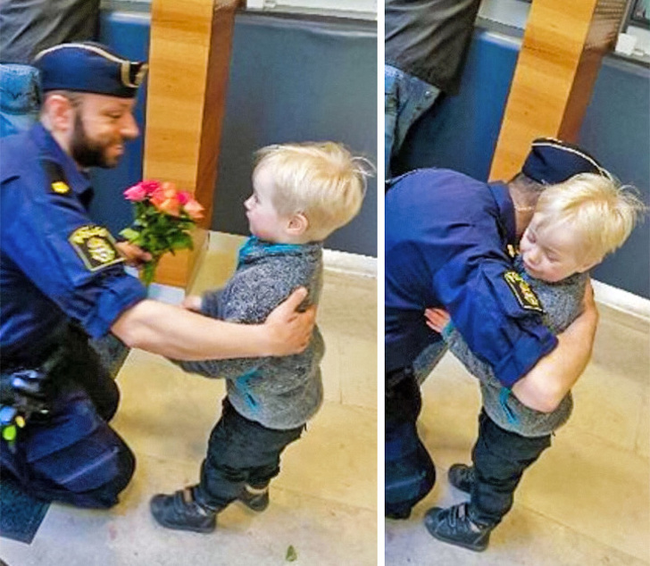 11 - A little boy gives flowers to a policeman after a terrorist attack in Stockholm.