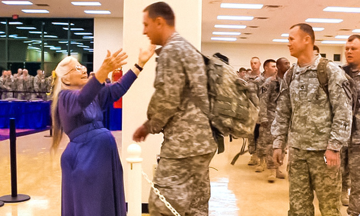 13 - Elizabeth Laird hugged over 500,000 soldiers before they left to serve.