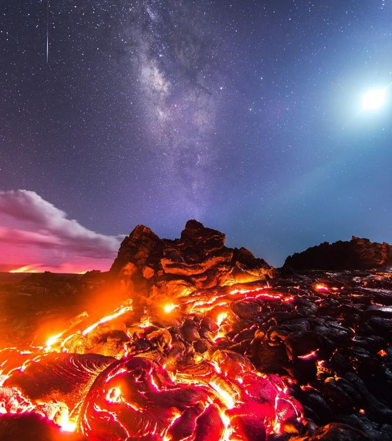 12 - The moon, the Milky Way, lava, and a meteor...