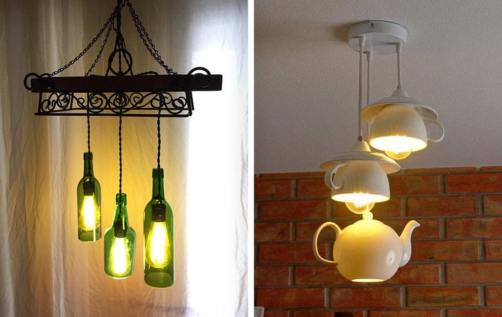 10 - Liven up your room with creative chandeliers made with cups and bottles.