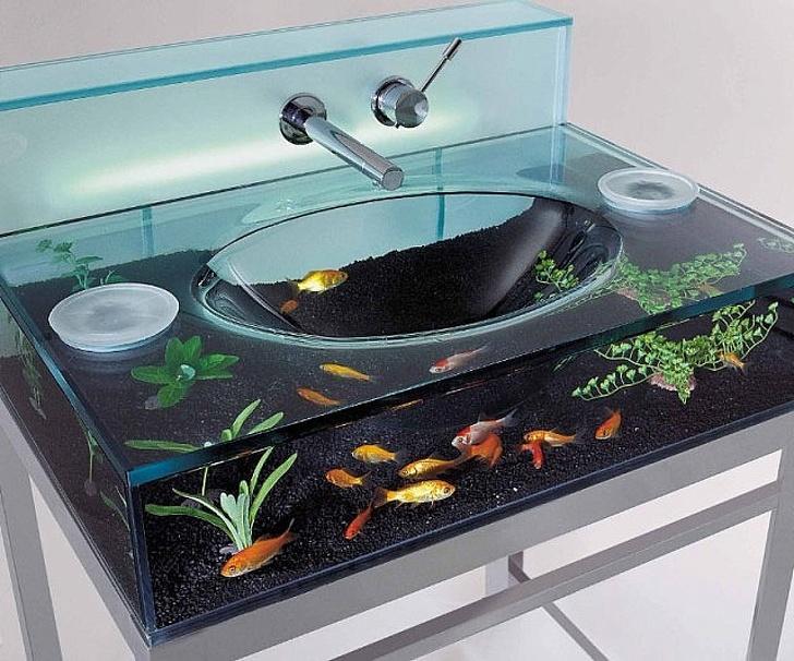 11 - Watch the fish swim around while washing your hands.