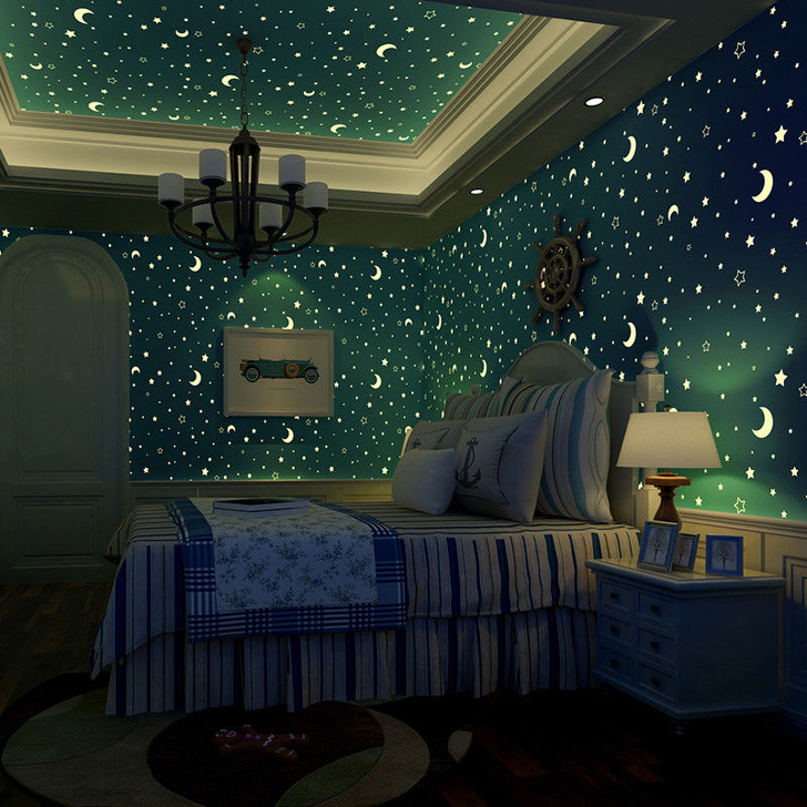 12 - Observe the starry sky every night with this glow-in-the-dark wallpaper.