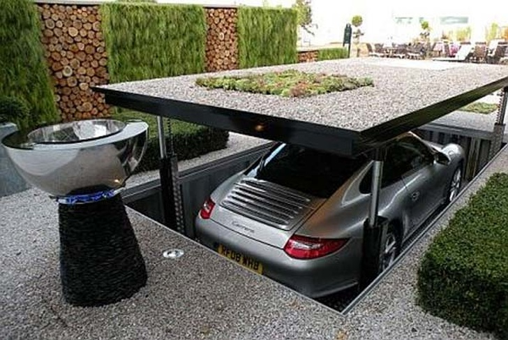 15 - Hide your car with this hideaway car elevator.