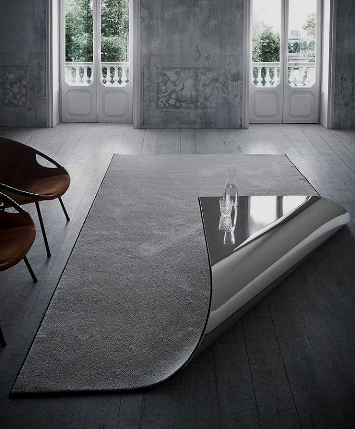 19 - Combine a coffee table and a carpet in a unique design.