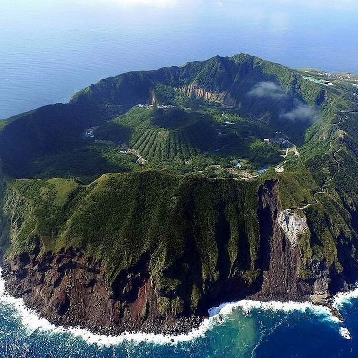 9 - A tiny volcanic island called Aogashima in Japan.