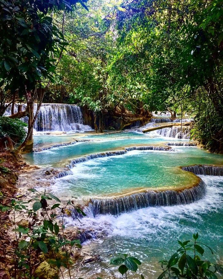 15 - Breathtaking 3 level waterfall Kuang Si, Laos.