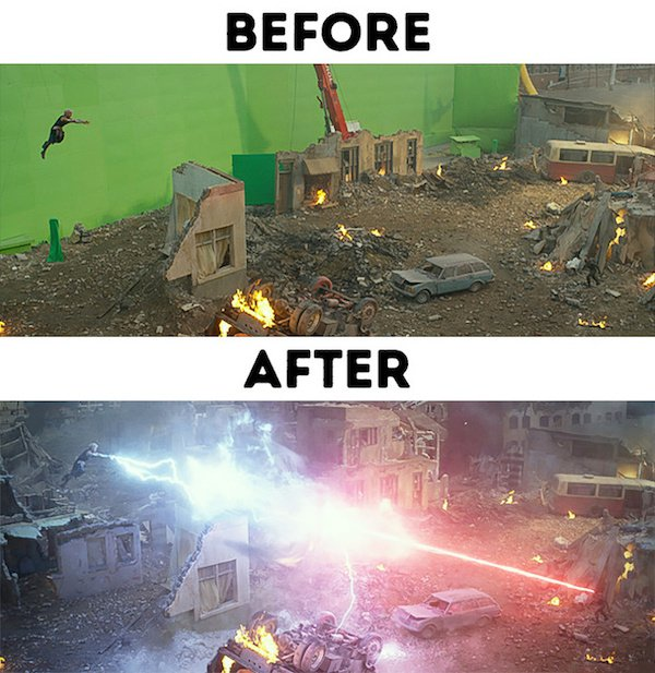 15 - 30 before and after special effects scenes