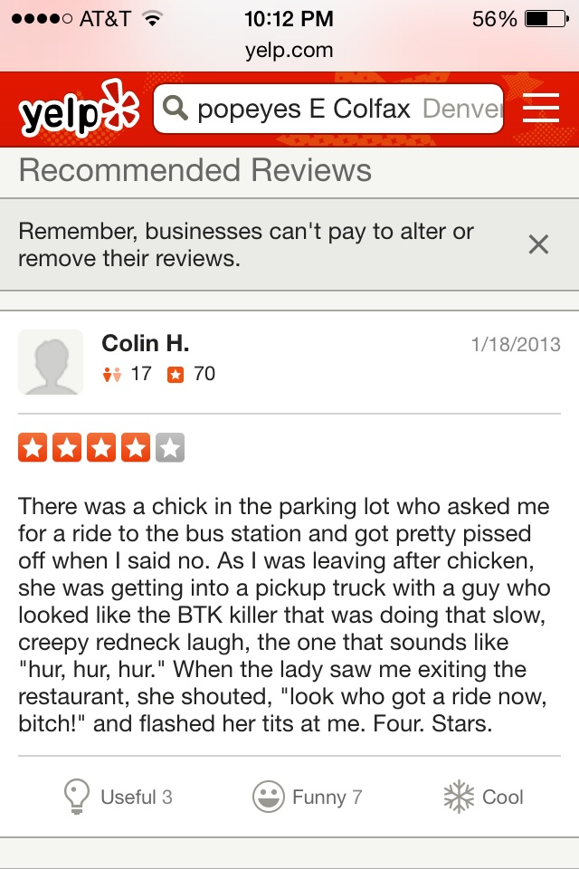 Funny Fast Food Reviews