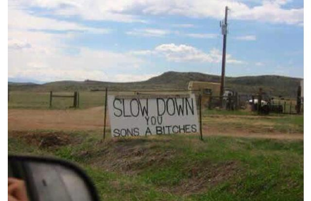 12 - Sign telling drivers to slow down in Idaho Idaho