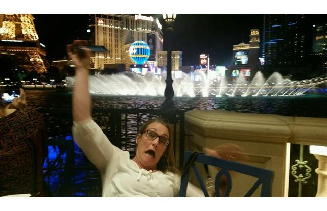 28 - Woman about to fall in the water in Las Vegas in Nevada Nevada