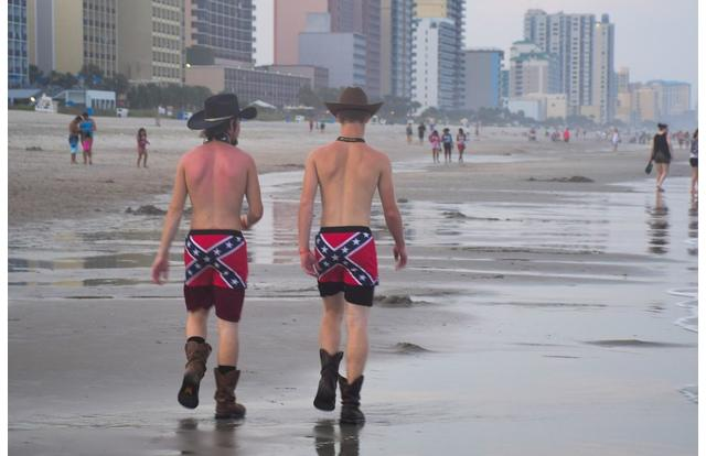 40 - Boys wearing shorts with Confederate flag in South Carolina. South Carolina