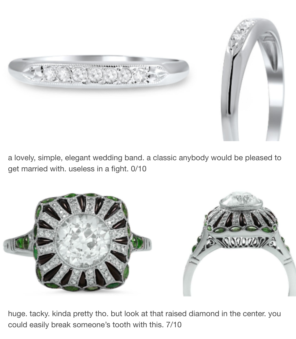 Engagement Rings Ranked By Their Ability To Break Someones Nose