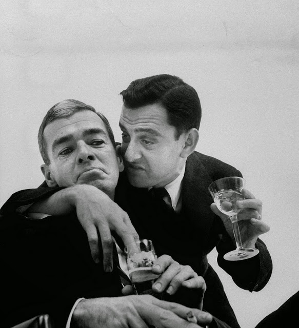 "5 -  Tony Randall (right) doing his impression of a cocktail party pest ""the confider"" during a funny photo shoot in 1957. Randall had a successful career for nearly 40 years, mostly in TV."