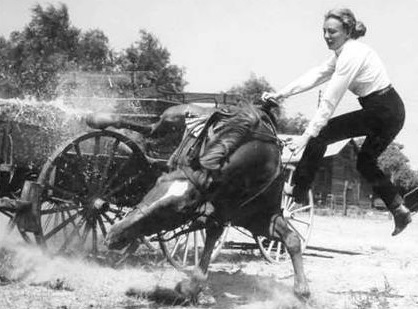 14 -  Martha Crawford Cantarini being thrown from her horse during a scene for a film sometime in the mid 1950s. Martha Crawford, as she was known throughout her career, was never an actress nor a model. She was just one of the best female stunt women (specifically doing horse riding work) in the business. She worked on 17 films in just 3 years.