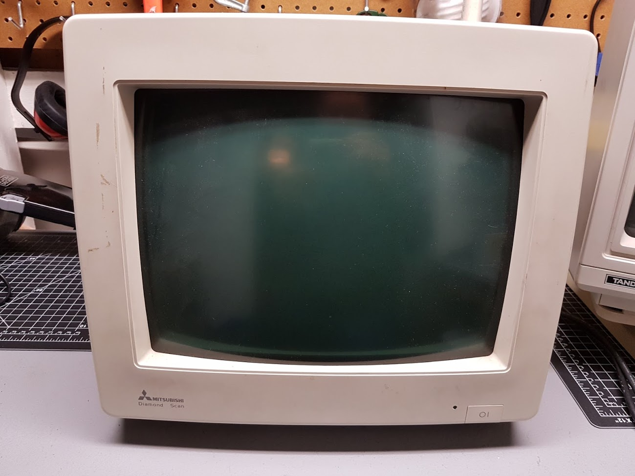 "22 -  ""Mitsubishi Multisync monitor AUM-1381A. Need a little bit of a clean but in great shape otherwise. Has a Tilt-Swivel stand in the box which I need to install."""