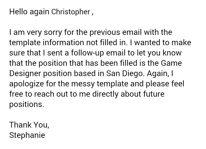 email after rejection