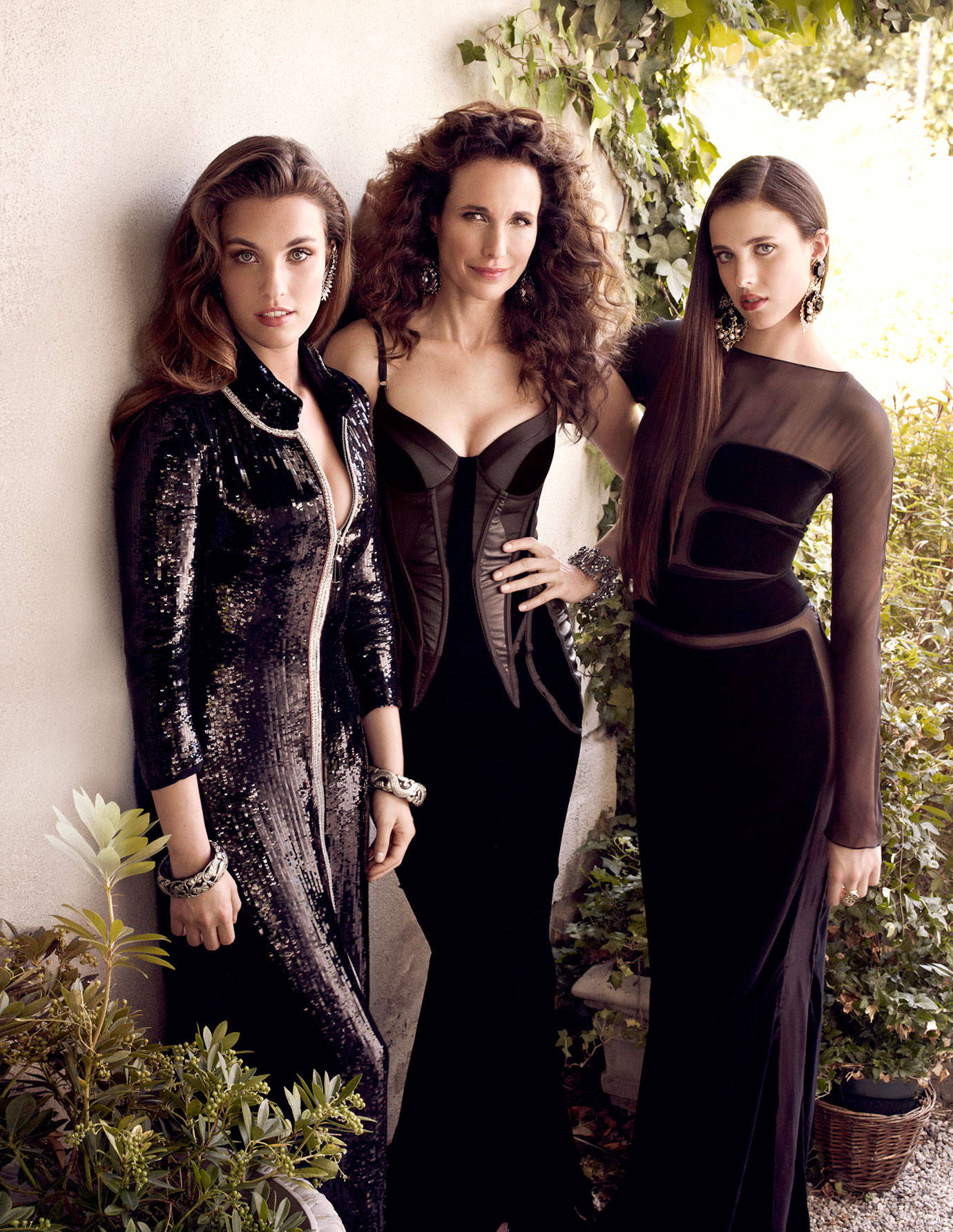 10 - Andie MacDowell and her daughters Margaret and Rainey Qualley.