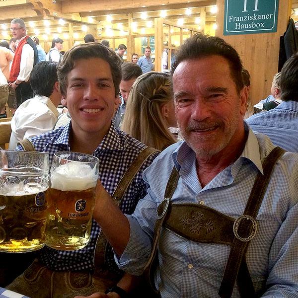 13 - Arnold Schwarzenegger and his son Joseph.