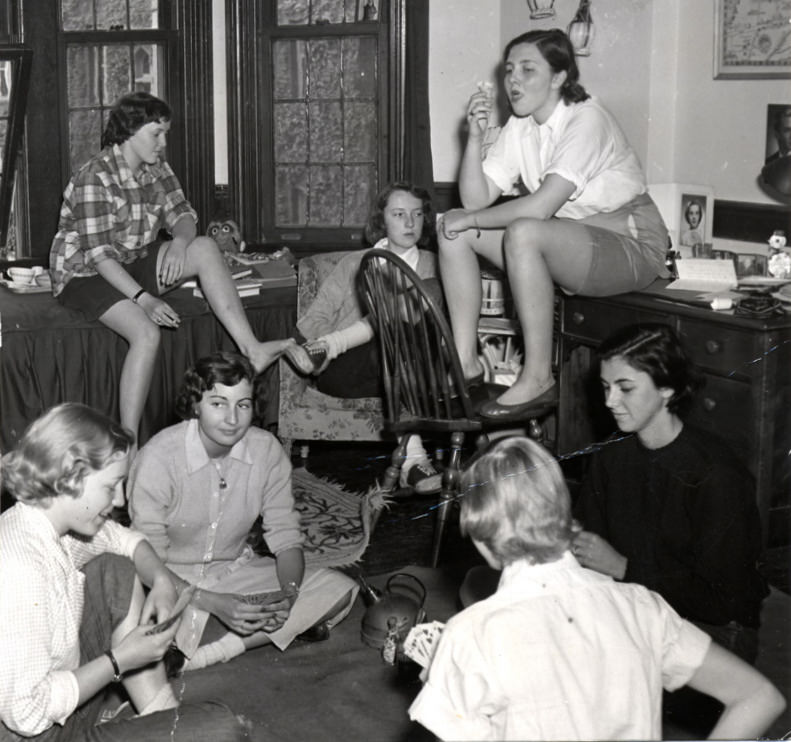 5 - Female students relax in their dorm room at the University of Chicago, US in 1951.
