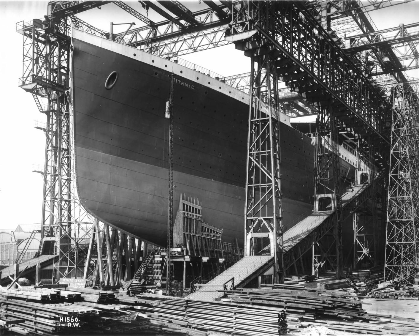 19 - The almost completed Titanic in Belfast Harbour, Ireland in 1911.