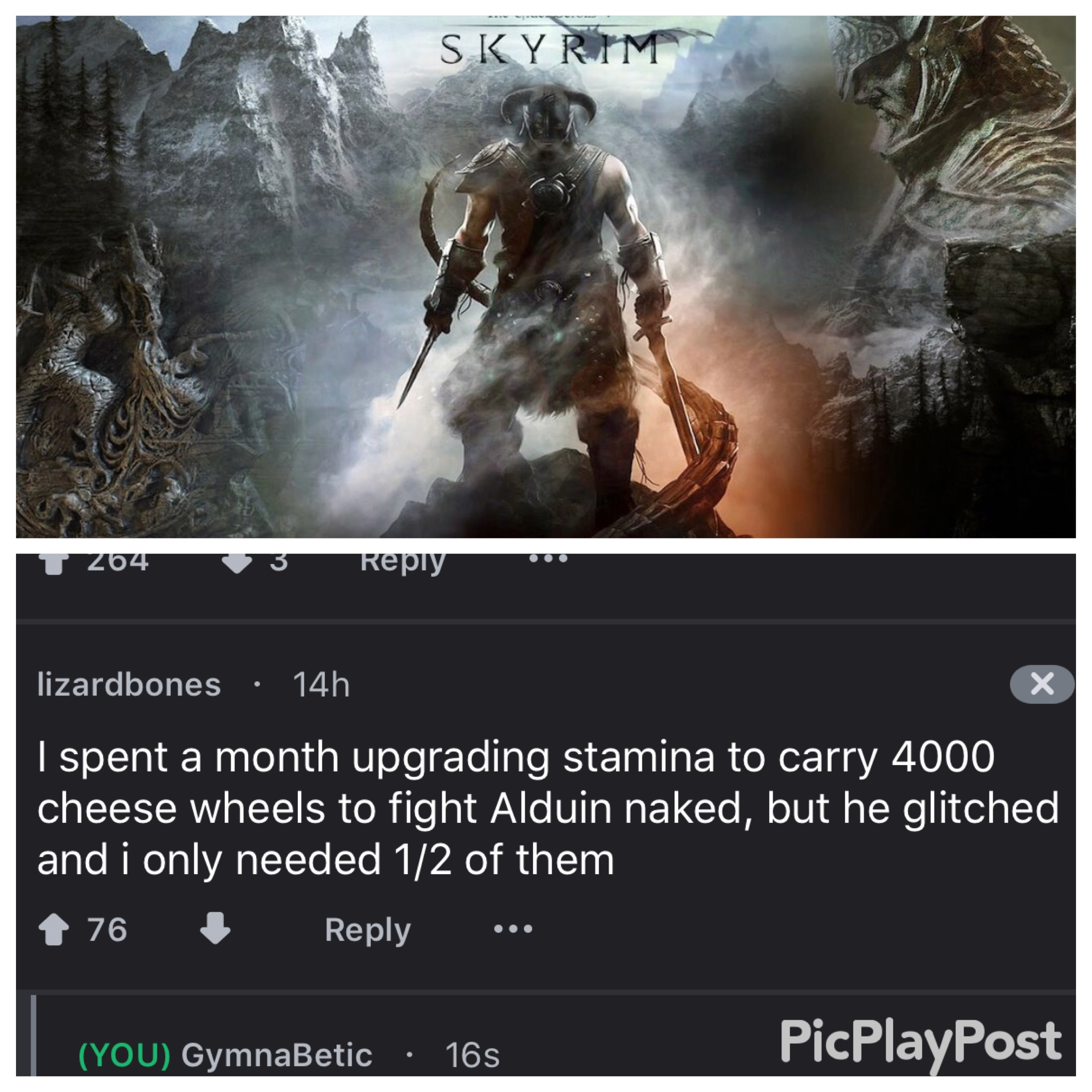 19 - Skyrim meme of someone who carried many wheels of cheese and then dropped them.
