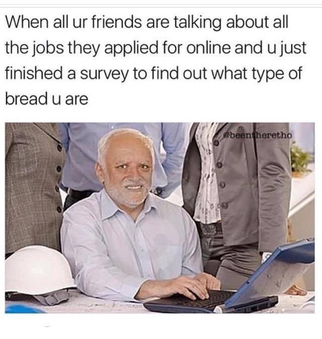 3 - Hide the hurt Harold meme about the feeling when friends are talking about all the jobs they applied for online and you just finished a survey to find out what type of bread you are.