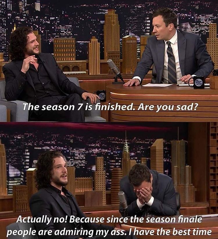 14 - Kit Harrington on Jimmy Fallon saying how much fun he has been having since Season 7 came out.