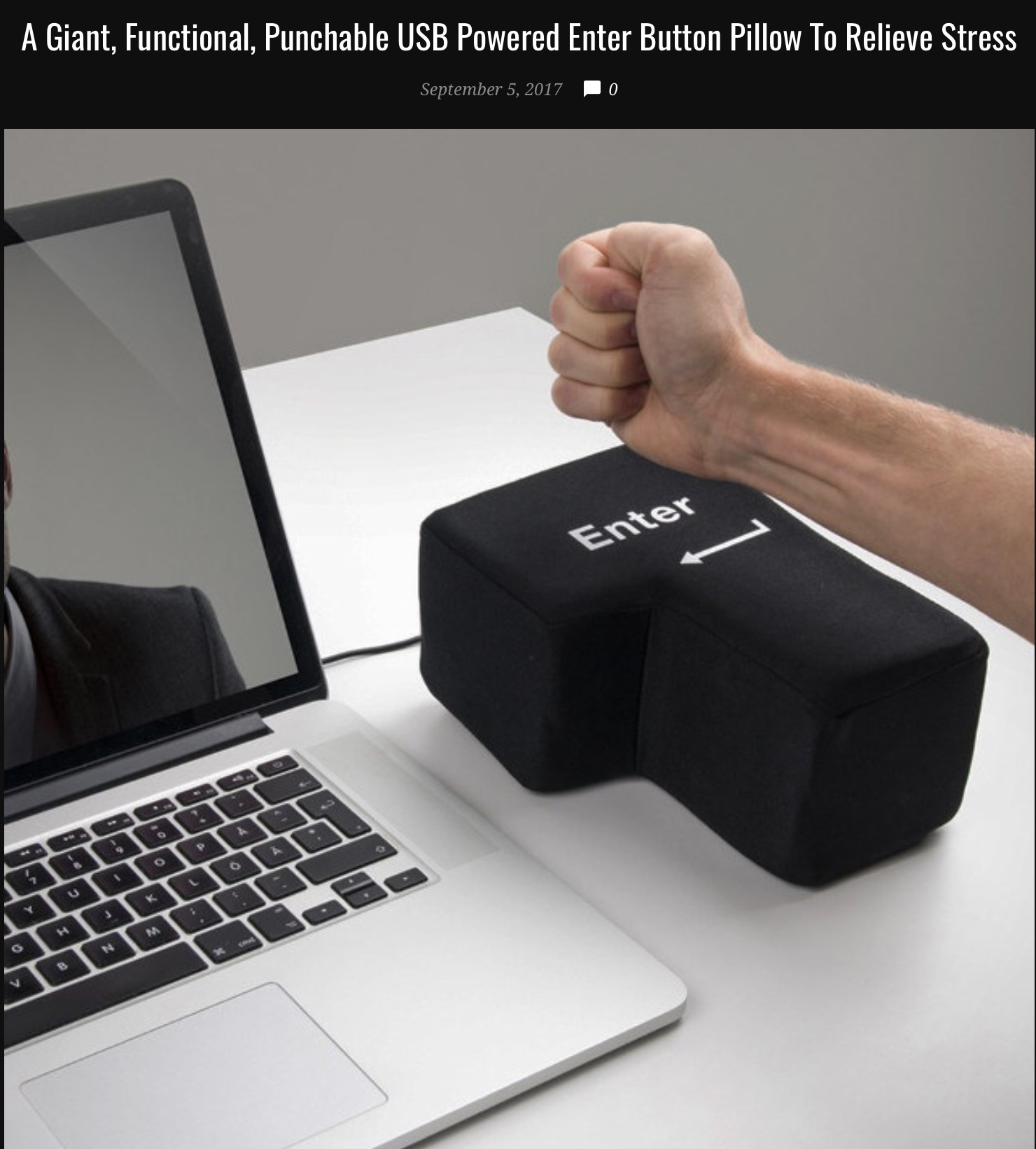 23 - Massive ENTER button stress pillow to punch on your desk.