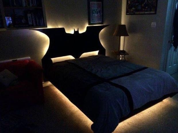 28 - Awesome glowing Batman headboard for a bed.