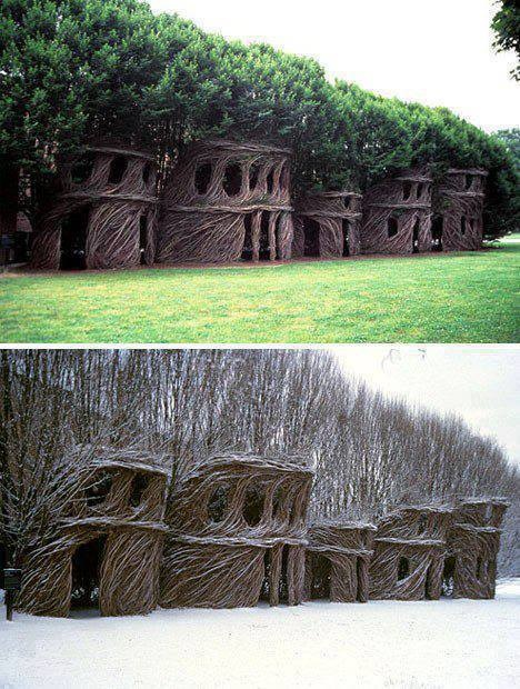 11 - The treehouses of Patrick Dougherty. This patient artist bends and braids trees into spooky sculptures.