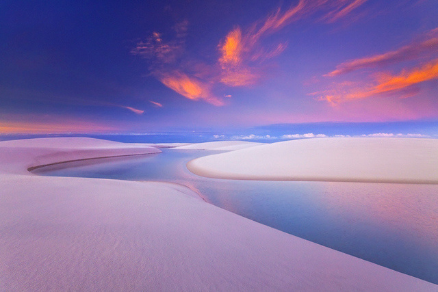 16 - Lençóis Maranhenses in Brazil.A coastal stretch of lagoons and dunes form arresting compositions of white sand and blue waters