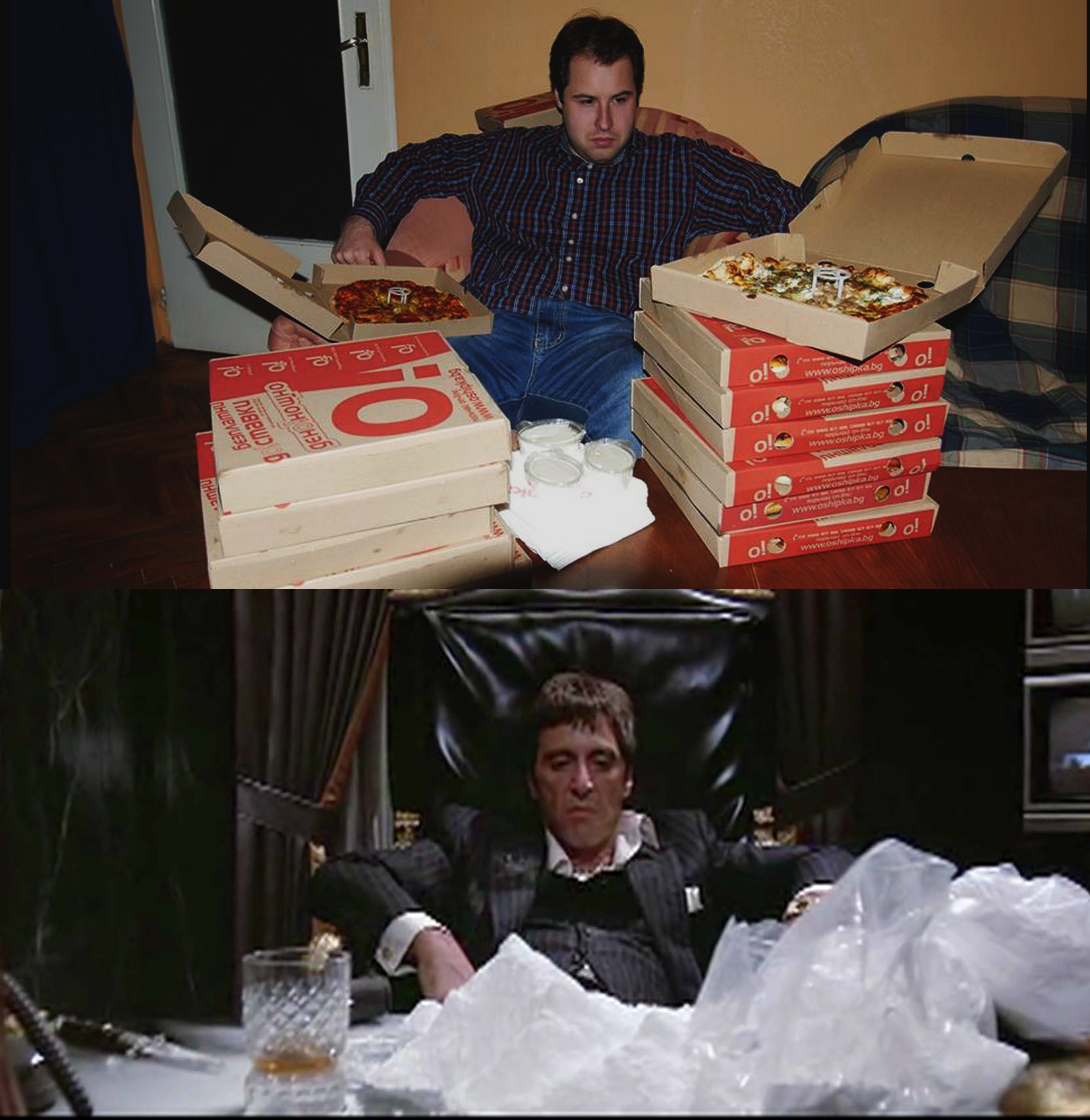 6 - Man sitting with his pizza boxes juxtaposed to a screen shot on Tony Montana from Scarface.