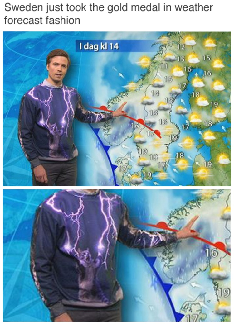 12 - Video feed that goes wrong for the weather man in Sweden and his shirt is covered in lightening bolt renders.