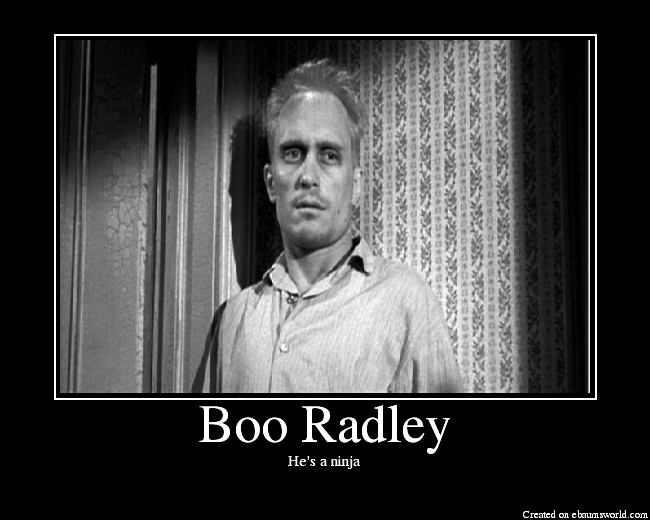 boo radley mockingbird essay The impact of boo radley in to kill a mockingbird essays in novels, sometimes characters that are not seen or heard from much in the story play a very large part they impact every aspect of the novel including plot, characters and theme characters like this do not really have any speaking parts.