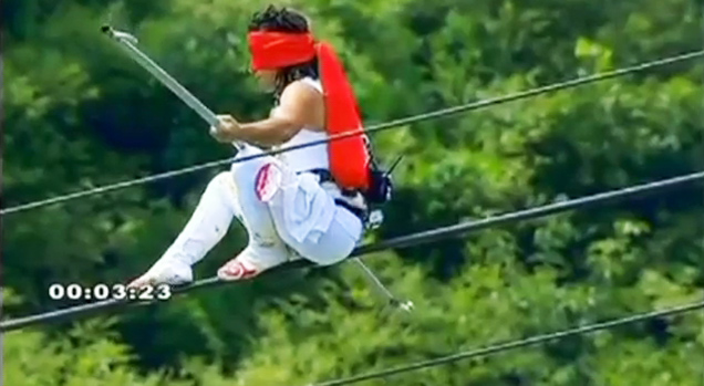Acrobat Survives High-Wire Fall! view on ebaumsworld.com tube online.