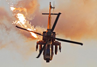 Helicopter Gunship Hit By Missile