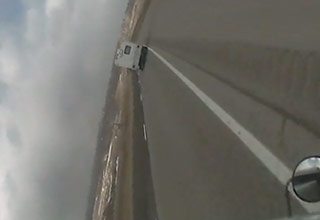 Strong Winds Flip Over A Semi Truck