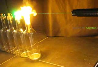 Laser Ignites Alcohol Rocket Bottles