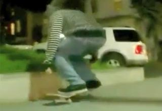 Skater Gets A Painful Lesson About Traffic