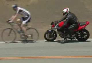 Motorcycle Crashes Into Cyclists