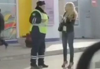 Russian Cop Falls Head Over Heels For Woman